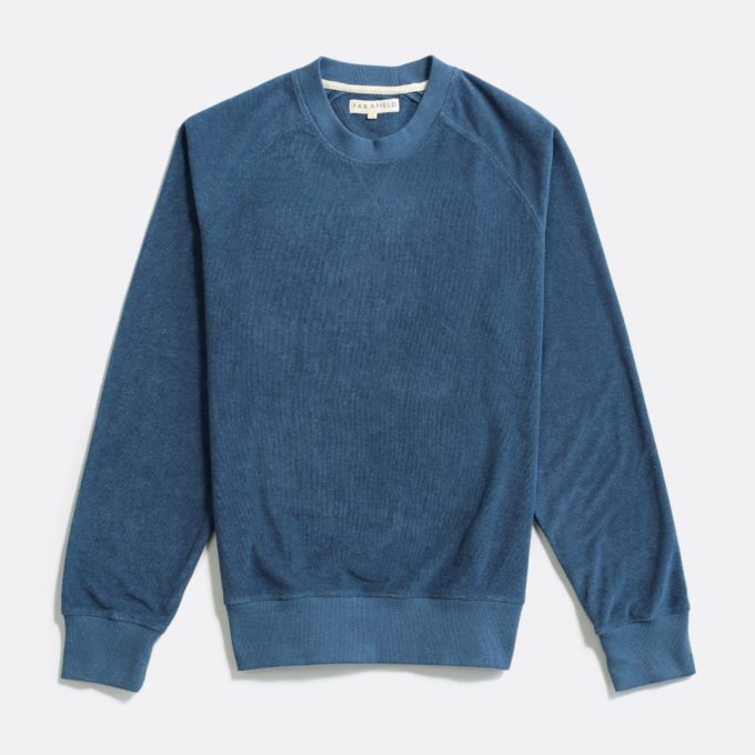 Far Afield Crewneck Sweatshirt a Blue Terry Towelling Cotton Blend Classic Sweatshirt