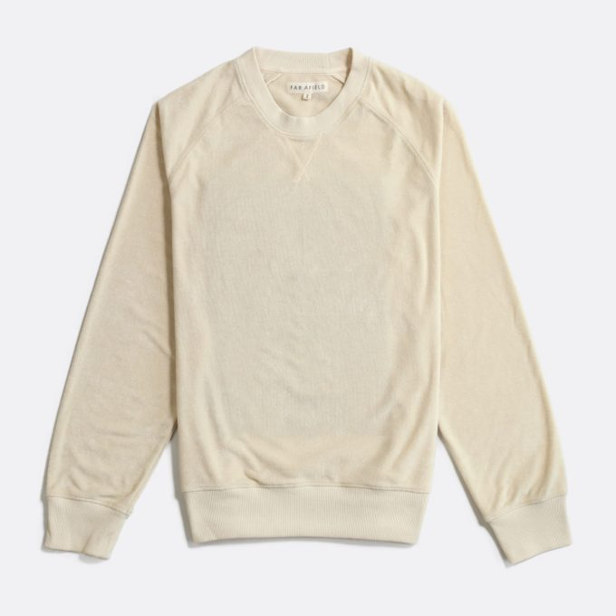 Far Afield Crewneck Sweatshirt a Off White Terry Towelling Cotton Blend Classic Sweatshirt