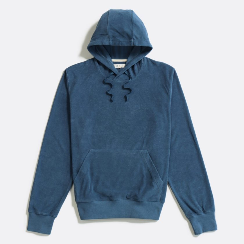 Far Afield Hooded Sweatshirt a Ensign Blue Terry Towelling Cotton Blend Classic Hoodie