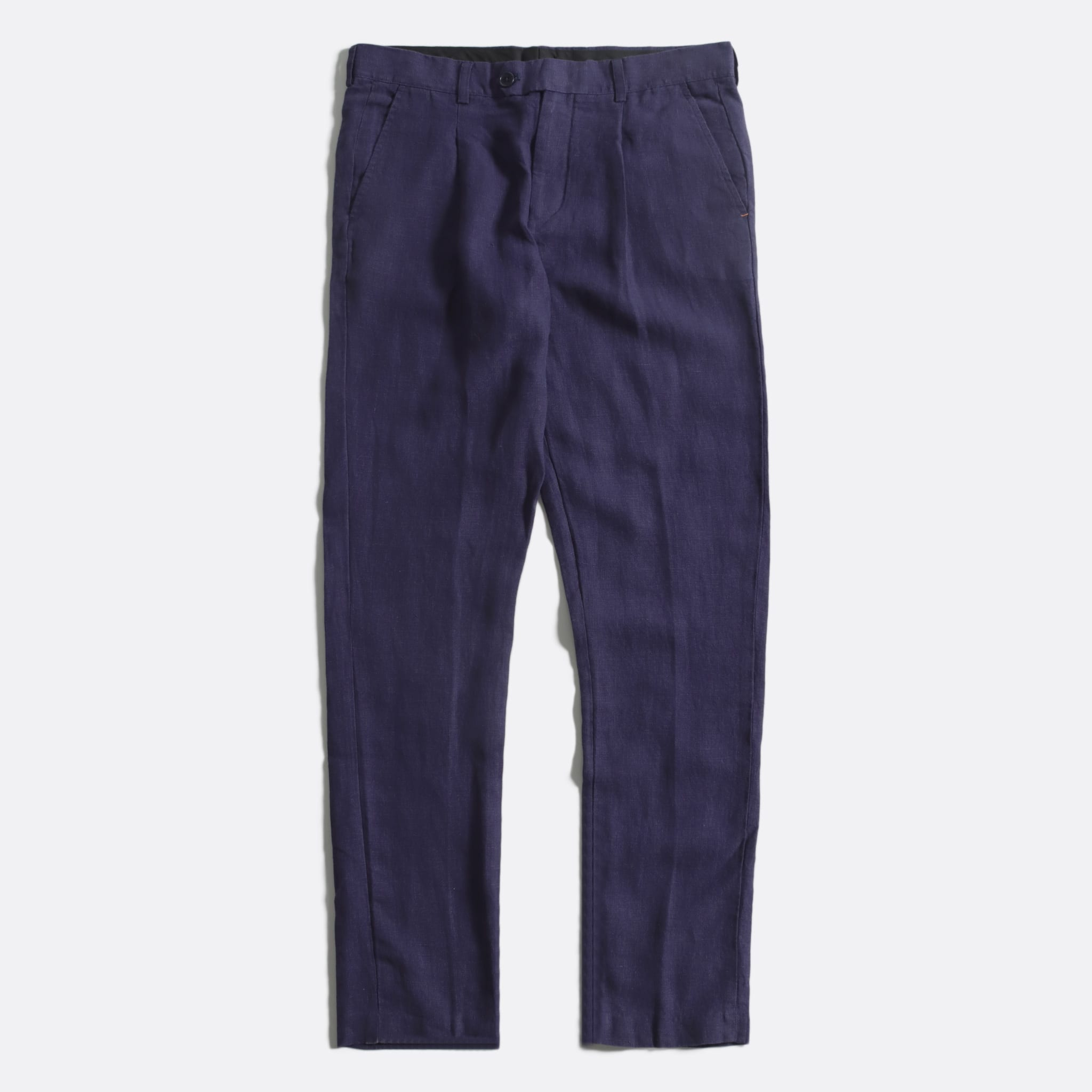 Far Afield Pleat Trousers a Blue Linen Fabric Smart Casual
