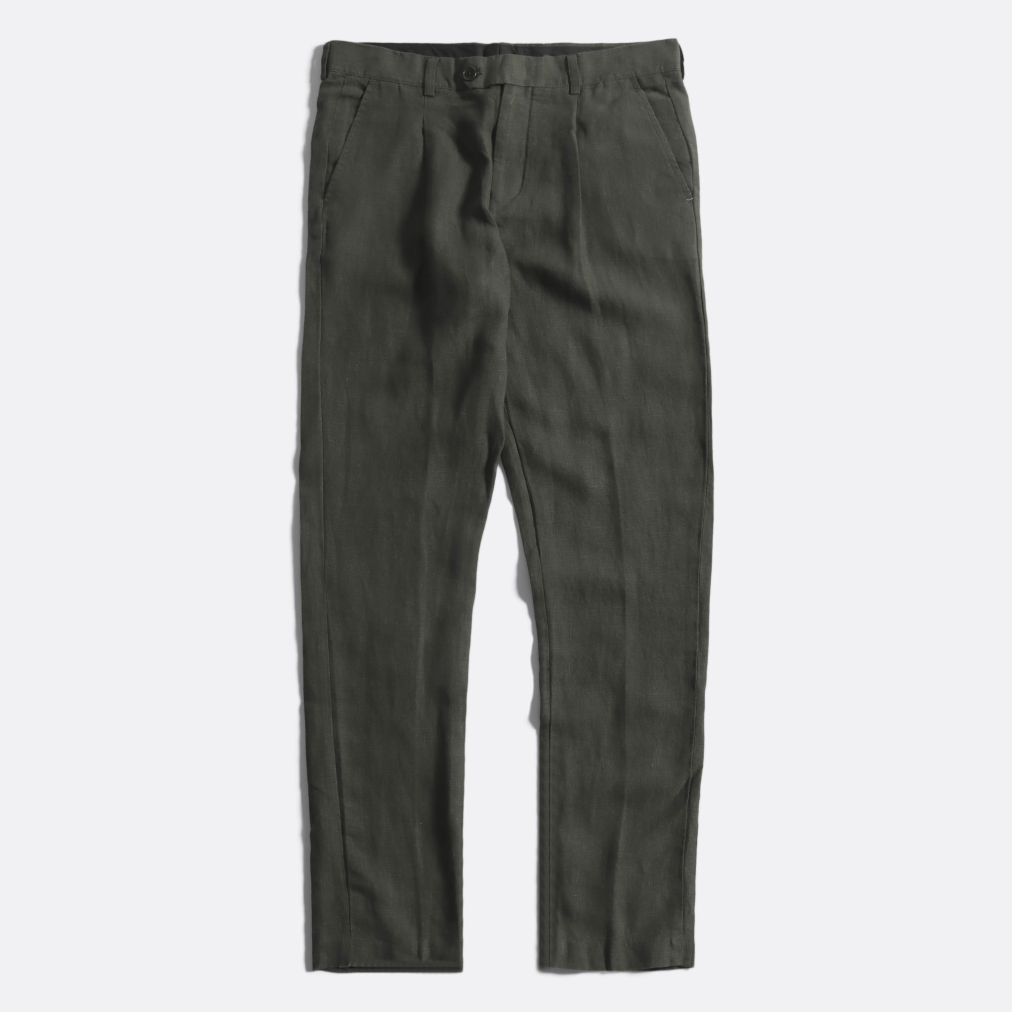Far Afield Pleat Trousers a Grey Linen Fabric Smart Casual