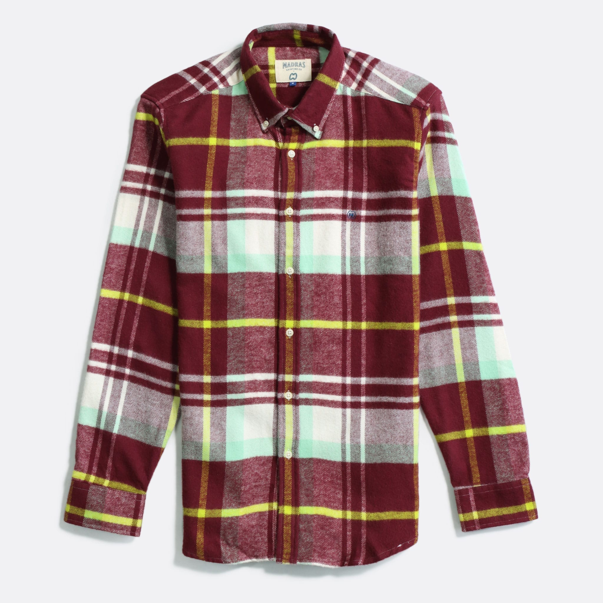 MSCo x Casual Co – Mod Button Down Long Sleeve Shirt a Burgundy Check Up-Cycled Cotton Flannel Fabric
