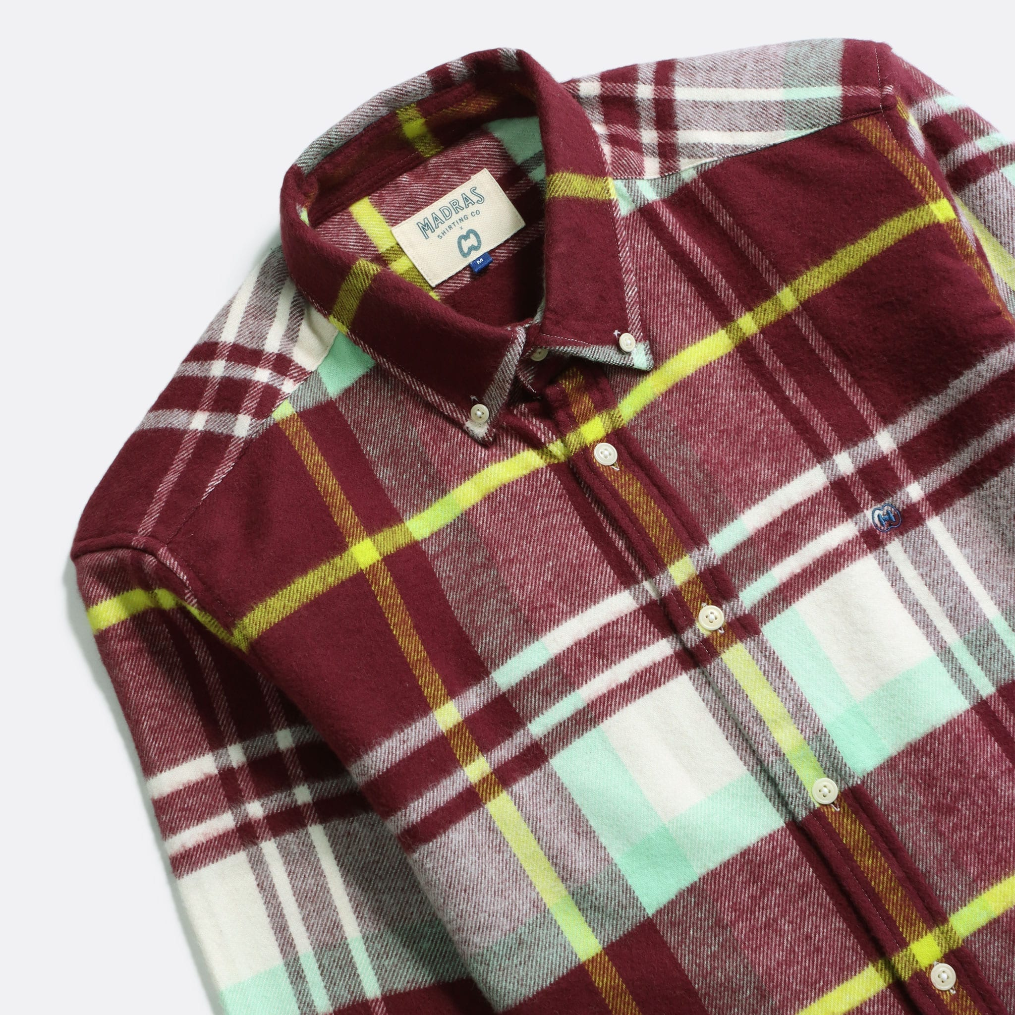 MSCo x Casual Co – Mod Button Down Long Sleeve Shirt a Burgundy Check Up-Cycled Cotton Flannel Fabric 2