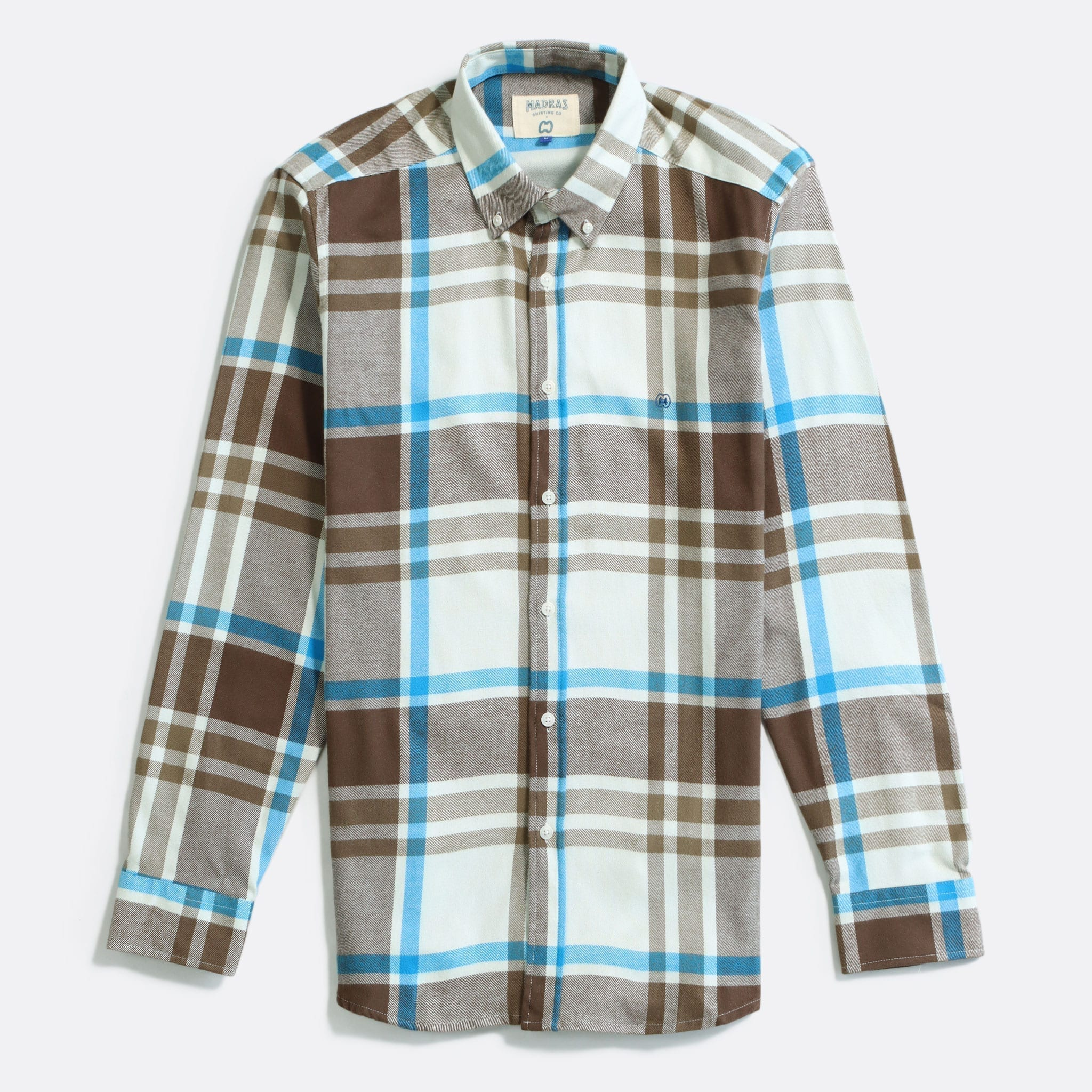MSCo x Casual Co – Mod Button Down Long Sleeve Shirt a White Brown Check Up-cycled Cotton Flannel Fabric