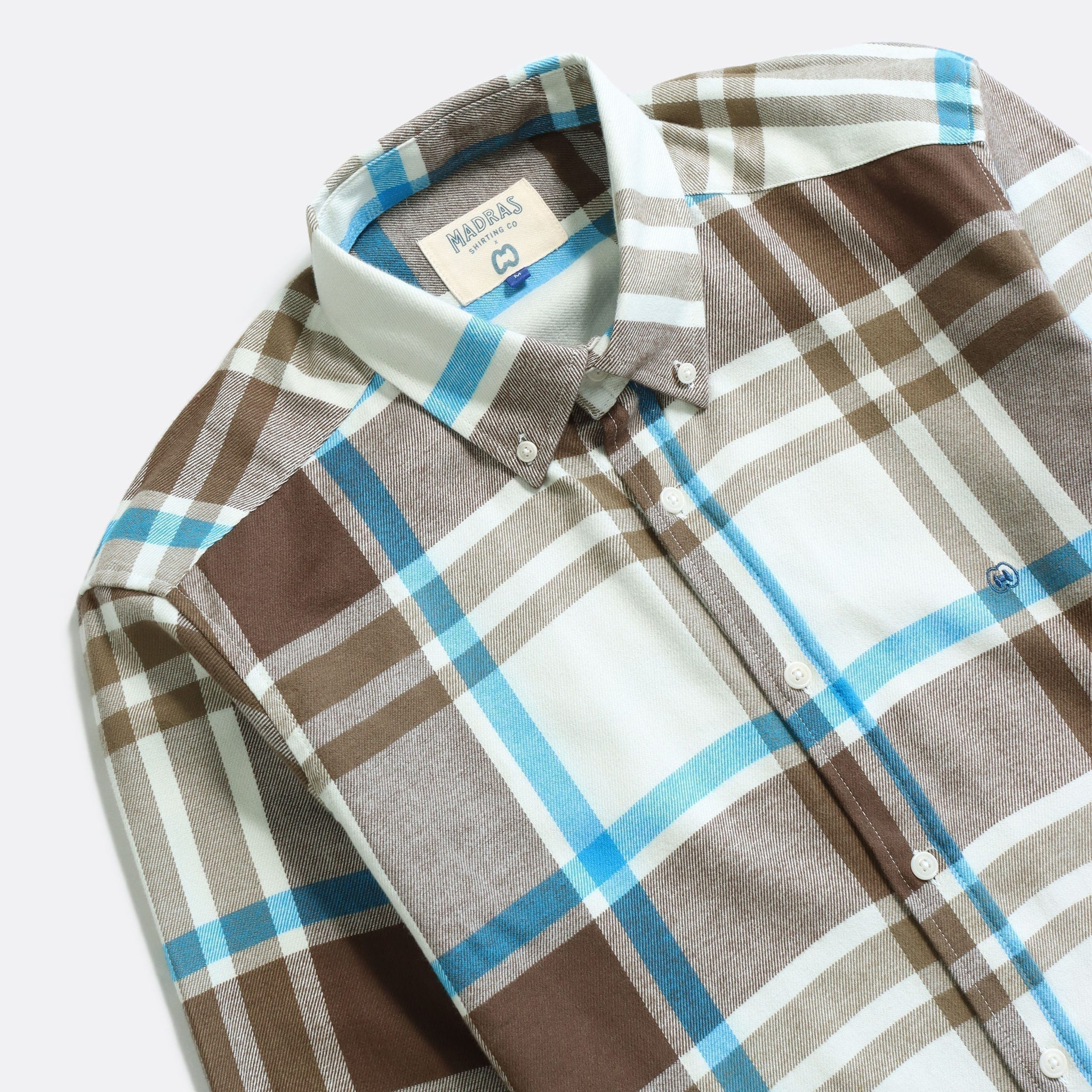 MSCo x Casual Co – Mod Button Down Long Sleeve Shirt a White Brown Check Up-cycled Cotton Flannel Fabric 2