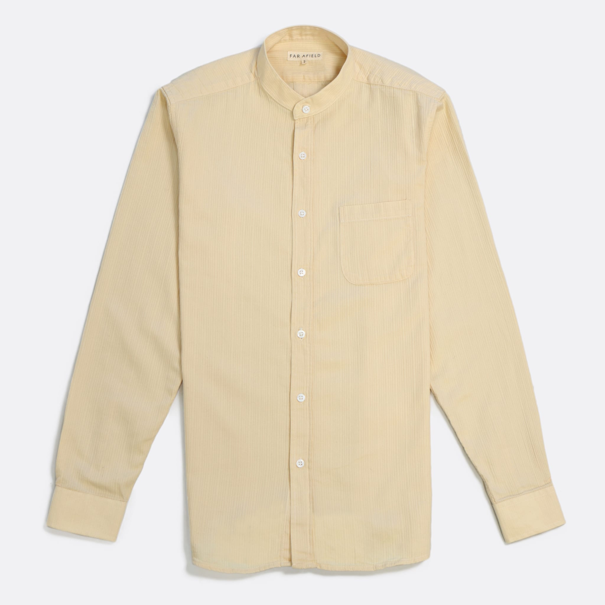 Far Afield Twombly Long Sleeve Shirt a Lambs White Textured Stripe BCI Cotton Twombly Shirt