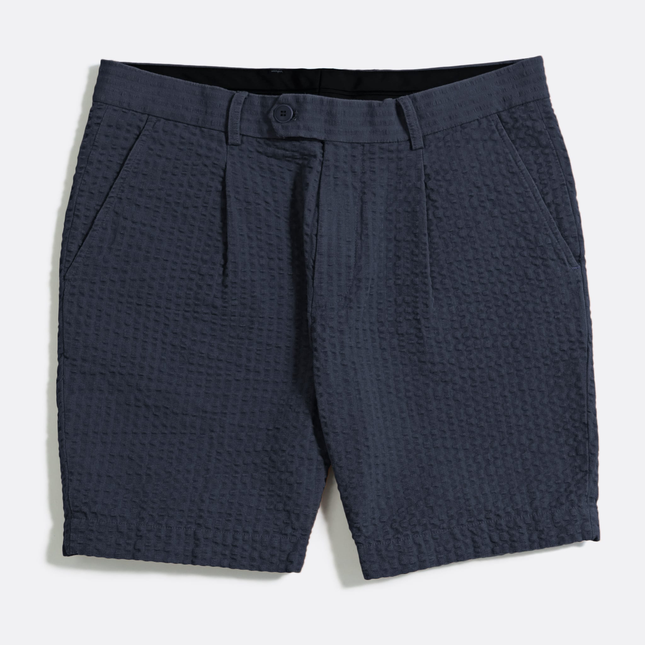 Far Afield Pleat Shorts a Ensign Blue BCI Cotton Fabric SeersuckerSmart Casual