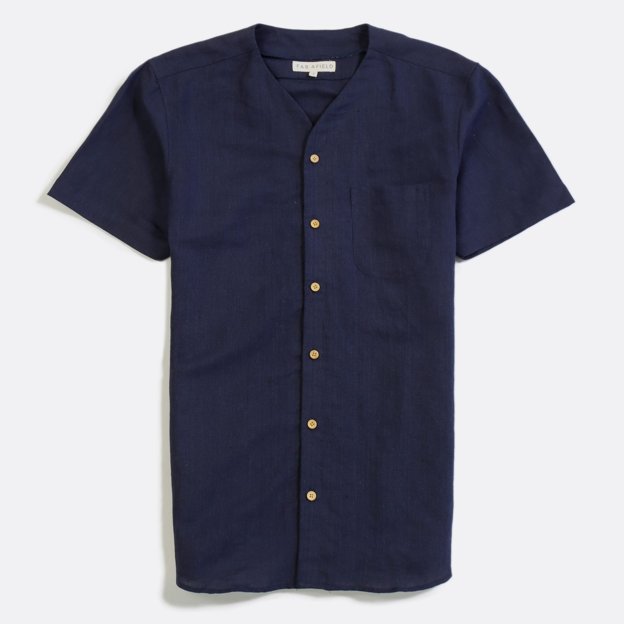 Far Afield Harvey Short Sleeve Shirt a Navy Linen Fabric North American Casual