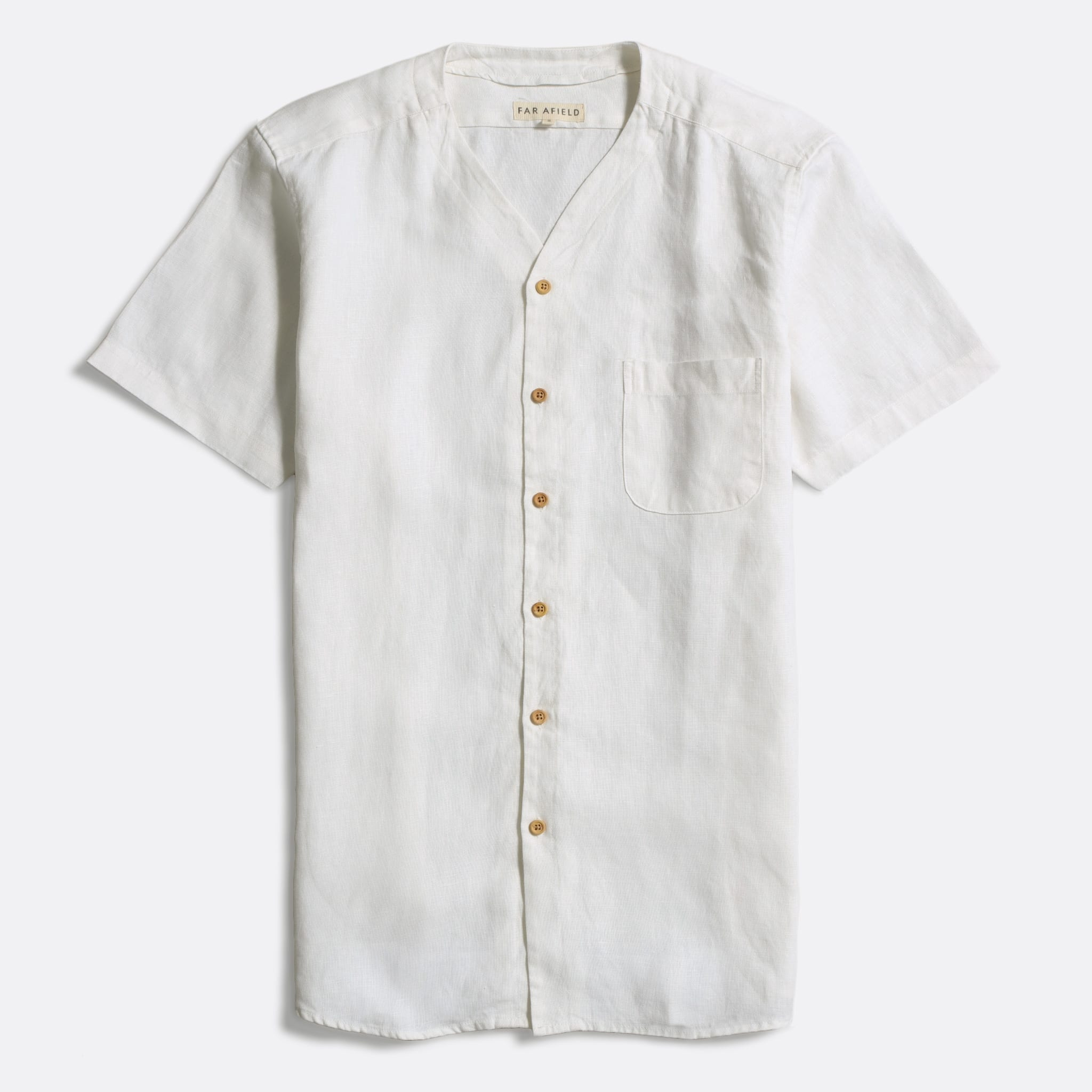 Far Afield Harvey Short Sleeve Shirt a White Sand Linen Fabric North American Casual